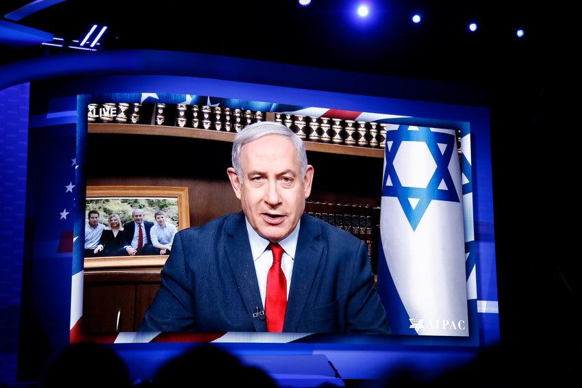 Israeli Prime Minister Benjamin Netanyahu addresses 18,000 AIPAC attendees.
