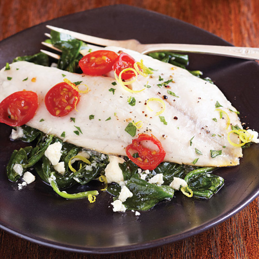 Flounder With Feta and Spinach