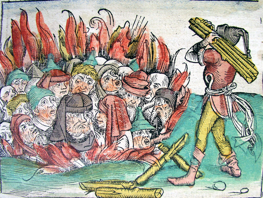 "The ""burning of the Jews"" depiction during Europe's Black Death plague."