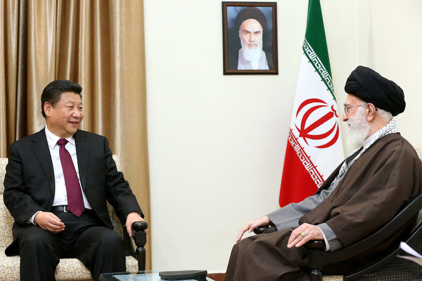 President of China Xi Jinping with Iran's leader, Ayatollah Ali Khamenei, in 2016.