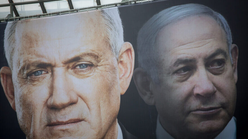 Election posters of Blue and White candidate Benny Gantz and Israeli prime minister Benjamin Netanyahu on Feb. 18.