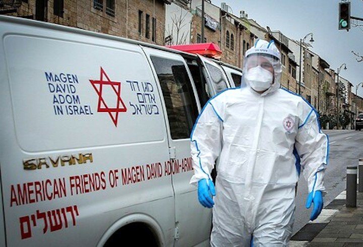 An ambulance that was contributed by American Friends of Magen David Adom in Israel responds during the coronavirus crisis.