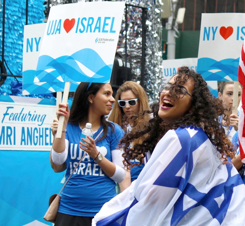 Marchers affiliated with UJA Federation NY shared their enthusiasm for the Jewish state at the 2018 Celebrate Israel Parade on Manhattan's Fifth Avenue.