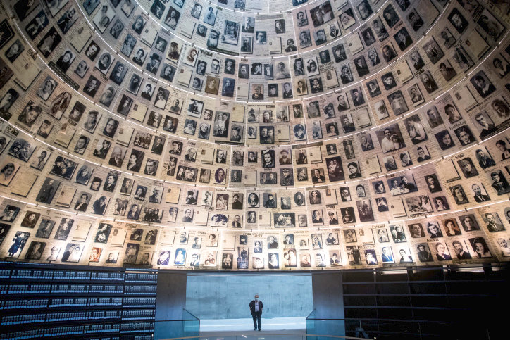 Yad Vashem Security guard stands at the empty Hall of Names in the Yad Vashem Holocaust Memorial Museum in Jerusalem on April 19.