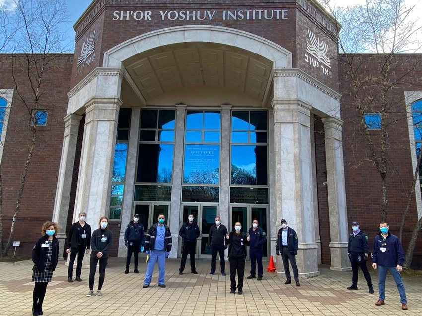 Outside the Sh'or Yoshuv Institute in Lawrence, where Northwell Health today (Wednesday) opened a COVID-19 facility.