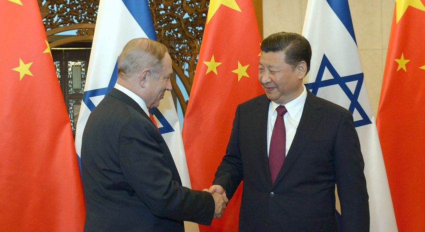 Israeli prime minister Benjamin Netanyahu with Chinese president Xi Jinping, in Beijing on March 21, 2017.