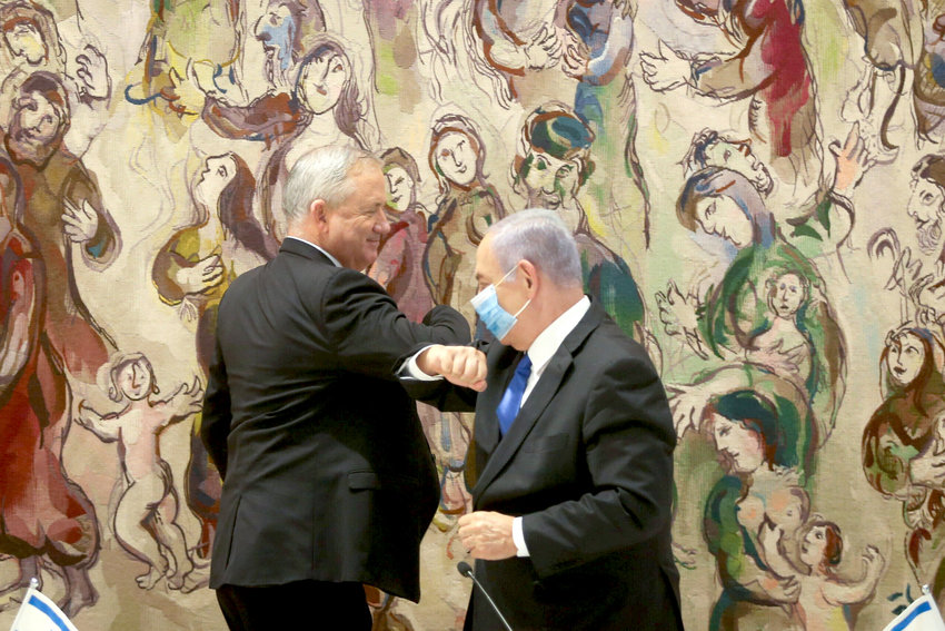 The first government conference of the new Israeli unity government, headed by Israeli prime minister Benjamin Netanyahu and Blue and White party leader Benny Gantz, at the Knesset on May 17.