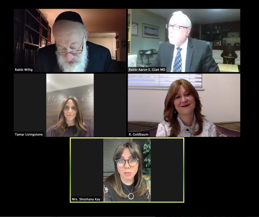 Speakers at Monday night's mikvah webinar.