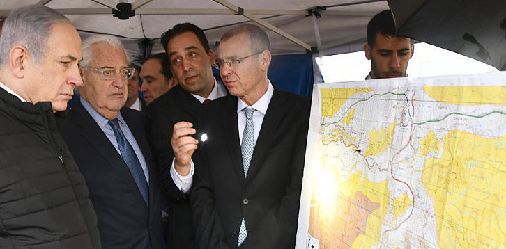Israeli Prime Minister Benjamin Netanyahu and U.S. Ambassador to Israel David Friedman on a tour with the mapping committee.