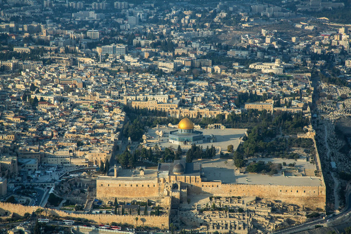 An aerial view of the Old City of Jerusalem on Dec. 17, 2019.