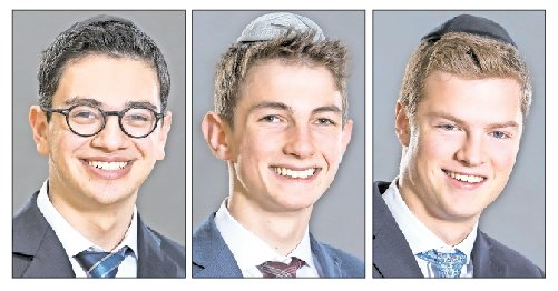 DRS honorees, from left: Valedictorian Josh Brafman, Salutatorian Ilan Frenkel, Keter Shem Tov honoree AJ Bennet.
