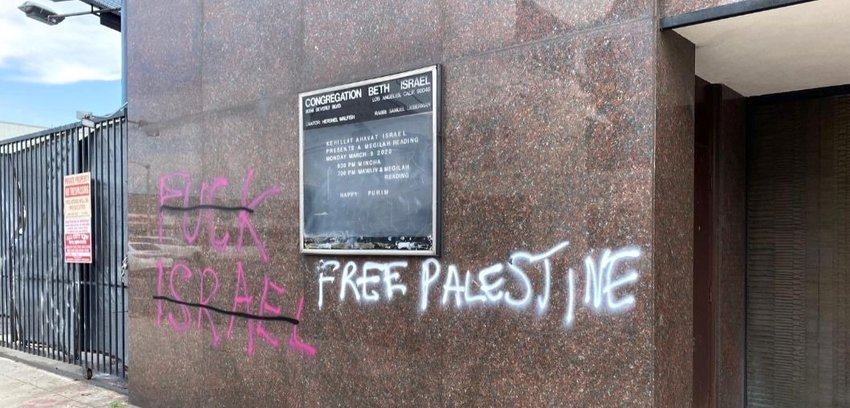 Graffiti was spray-painted on the walls of Congregation Beth Israel in the Fairfax district of Los Angeles on May 30.