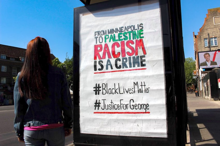 A poster from a protest in London linking the Black Lives Matter movement to the Palestinians.