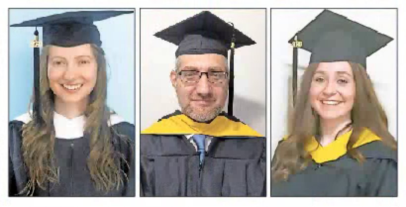 Three of Touro College's graduate school valedictorians (from left): Elisheva Friedman, David Regev and Sarah Fishman.