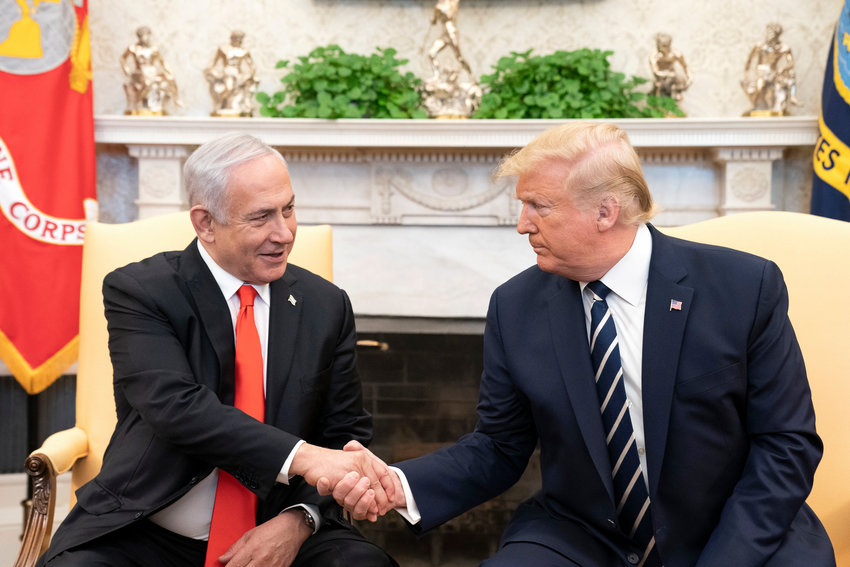 President Donald Trump and Israeli Prime Minister Benjamin Netanyahu during a bilateral meeting at the White House on Jan. 27.