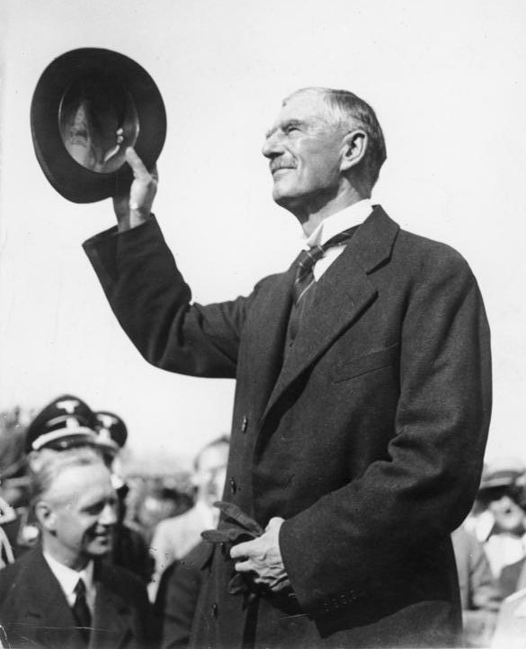 British Prime Minister Neville Chamberlain in Munich in September 1938, to make peace with Hitler.