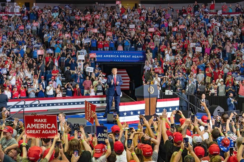 President Donald Trump at a presidential campaign rally in Tulsa, Okla., on June 20,