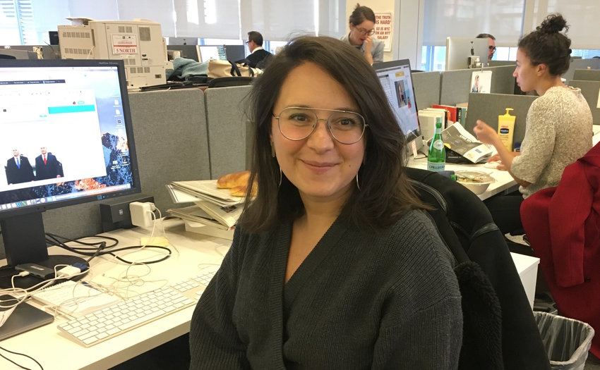Bari Weiss in The New York Times newsroom in 2018.