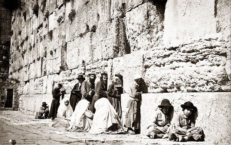 Jews pray at the Kotel, circa 1880. A Jewish link to the holy land was never severed.