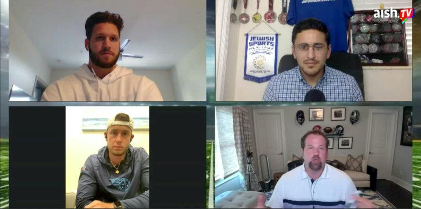 Jewish football players participated in an online conversation on July 12. Clockwise from top left: Anthony Firkser, conversation organizer Michael Neuman, Geoff Schwartz, and Greg Joseph.