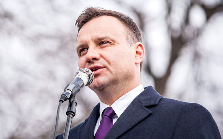 Andrzej Duda speaks in the town of Lubartów during the 2015 Polish presidential election campaign, March 31, 2015.