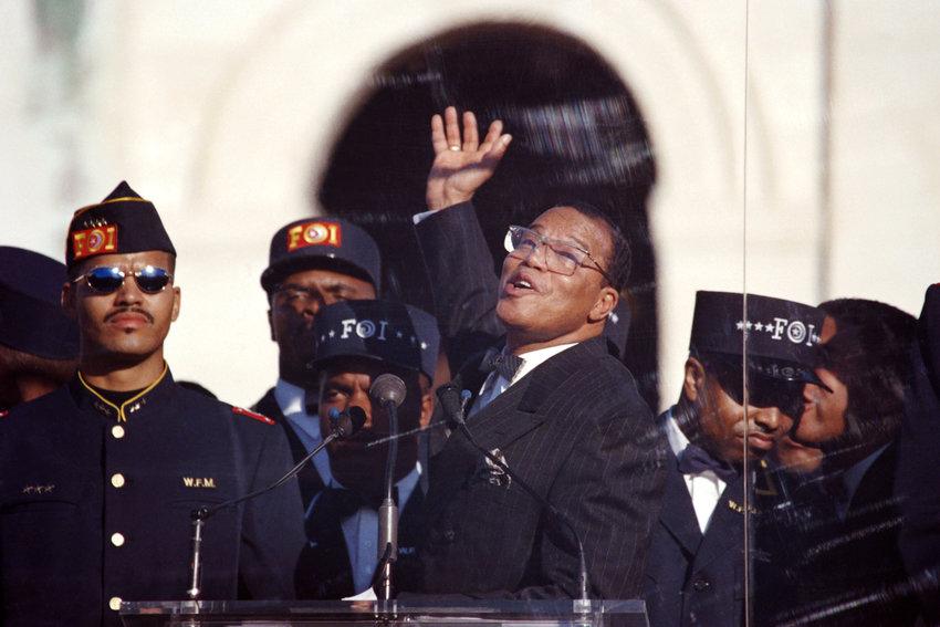 Louis Farrakhan at the Million Man March in Washington in 1995.