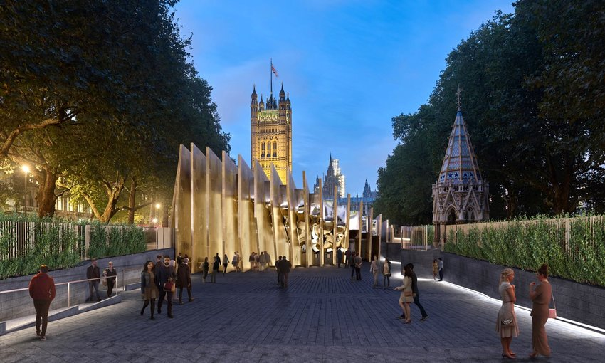 Rendering of proposed Shoah museum in London's Victoria Tower Gardens.