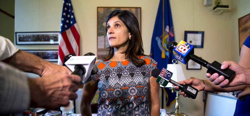 Sara Gideon speaks to the media in her office at the Maine State House in 2017.