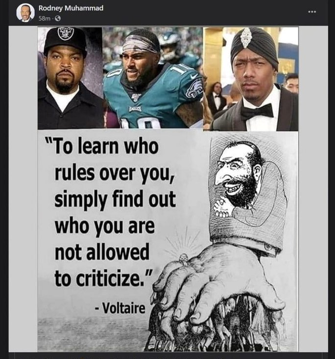 This Facebook post by Philadelphia NAACP president Rodney Muhammad combines a Nazi-like anti-Semitic meme with the images of Ice Cube, Nick Cannon and DeSean Jackson, three celebrities who recently made anti-Semitic statements.