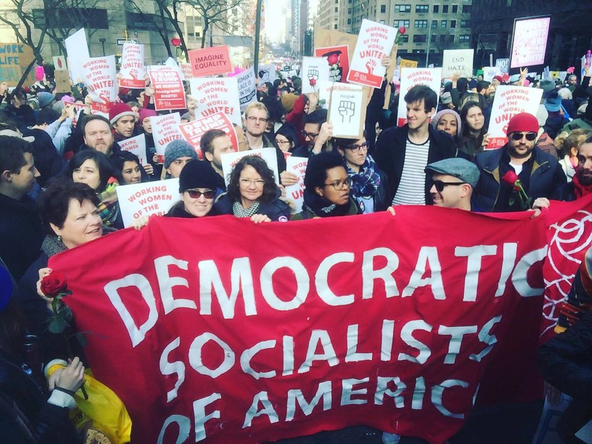 Supporters of the Democratic Socialists of America at a 2017 rally.