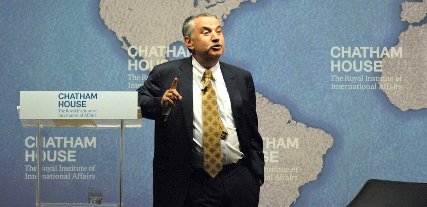 """NY Times columnist Thomas Friedman discusses """"The Divide Between Order and Disorder,"""" in 2014."""