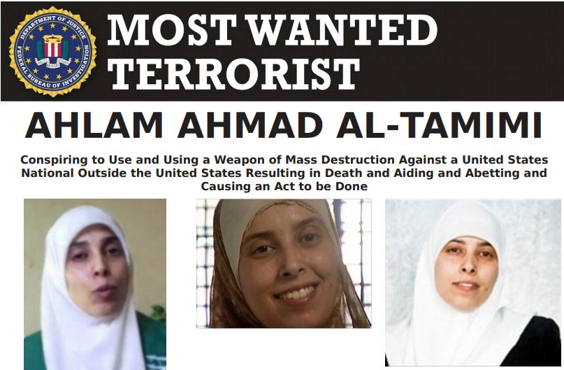 """An FBI """"Most Wanted Terrorist"""" poster for Palestinian terrorist Ahlam Ahmad Tamimi, one of the masterminds of the Aug. 9, 2001 bombing of the Sbarro pizzeria in Jerusalem that led to the deaths of 15 civilians, two of them Americans."""