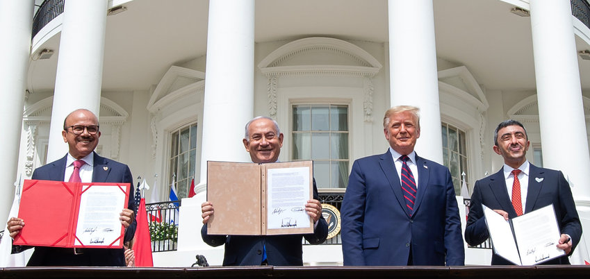 At the signing of the Abraham Accords at the White House on Tuesday, from left: Bahrain Foreign Minister Abdullatif al-Zayani, Israeli Prime Minister Benjamin Netanyahu, President Donald Trump, and UAE Foreign Minister Abdullah bin Zayed Al Nahyan.