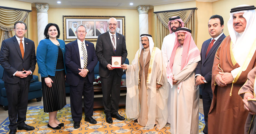 Jewish representative Nancy Khedouri, second from left, and other Bahraini officials meet with foreign representatives, including US Ambassador Justin Siberell, far left.