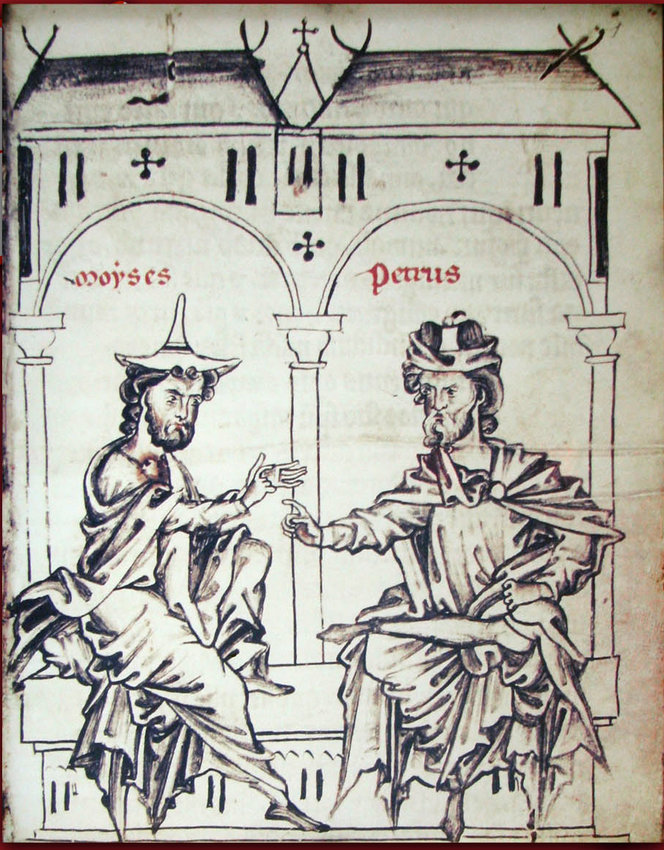 """A 13th century Belgian Manuscript illustrating the dialogue between the Jew """"Moyses"""" and the Christian """"Petrus."""""""
