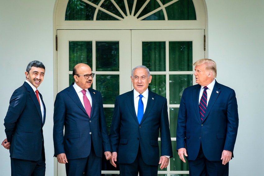 President Donald Trump with the Minister of Foreign Affairs of Bahrain Dr. Abdullatif bin Rashid Al Zayani, Israeli Prime Minister Benjamin Netanyahu, and the Minister of Foreign Affairs for the United Arab Emirates Abdullah bin Zayed Al Nahyan, on Sept. 15, along the Colonnade of the White House on their way to sign the Abraham Accords on the South Lawn of the White House.