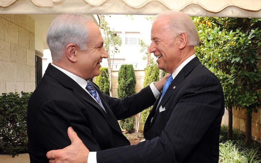 Prime Minister Benjamin Netanyahu meets Vice President Joe Biden in Jerusalem.