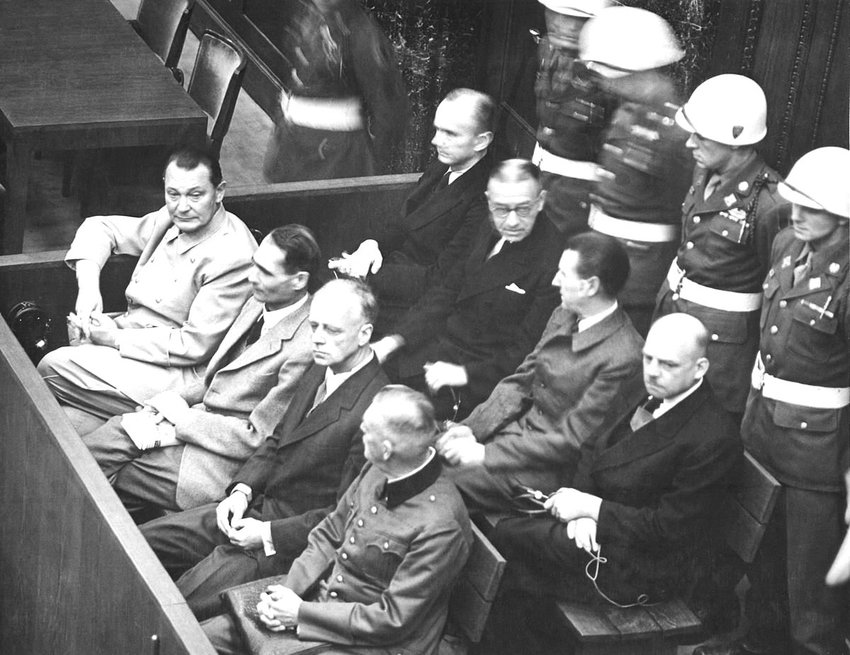 A view of proceedings at the Nuremberg trials.