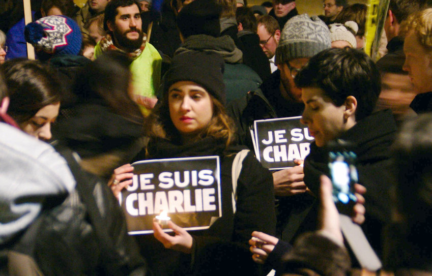 A rally in Berlin  in support of the victims of the Charlie Hebdo mass shooting in Paris on Jan. 7, 2015.
