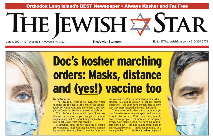 From the cover the The Jewish Star reporting the latest advisory from Rabbi Dr. Aaron Glatt.