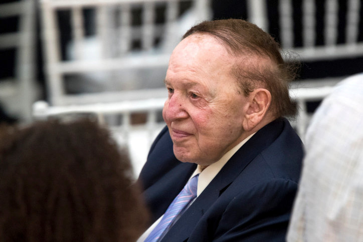 Sheldon Adelson attends the final remarks of US president Donald Trump and Israeli Prime Minister Benjamin Netanyahu at the Israel Museum in Jerusalem before Trump departure, on May 23, 2017.