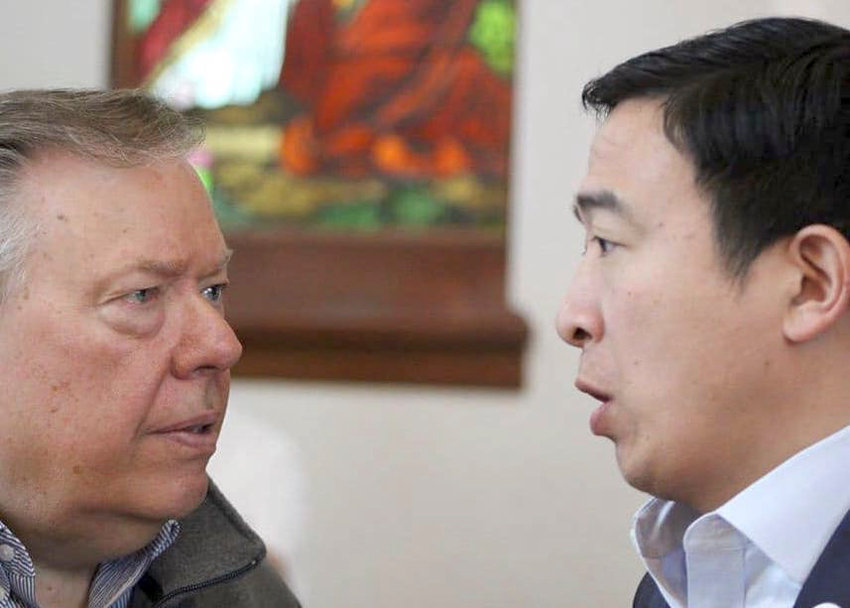 Andrew Yang speaks with Insight on Business podcast host Michael Libbe during his presidential campaign in Iowa.