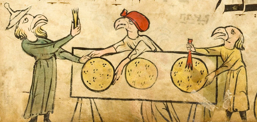 "Baking matzah, from the ""Birds' Head Haggadah."" Imagine the figure at left exclaiming, ""Shmurah Matzah $50 a pound? No way!"""