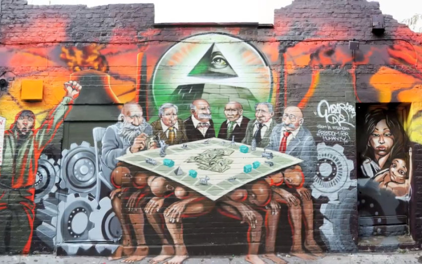 """View of the anti-Semitic """"Freedom for Humanity"""" mural in London, taken down in 2012."""