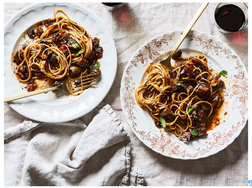 Whole Wheat Pasta with Portobello Mushrooms and Mixed Vegetable 'Sauce'