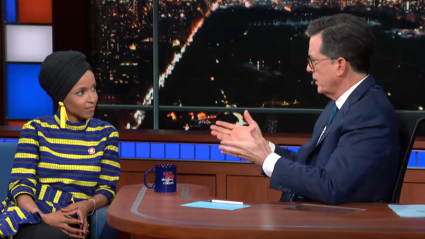 "Rep. Ilhan Omar (D-Minn.) on ""The Late Show with Stephen Colbert."""