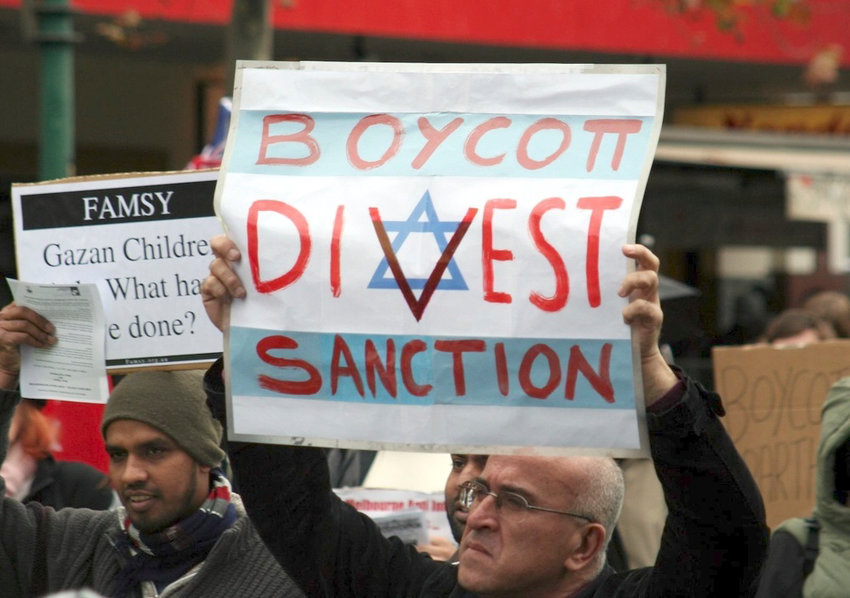 A BDS movement protest against Israel in Melbourne, Australia.