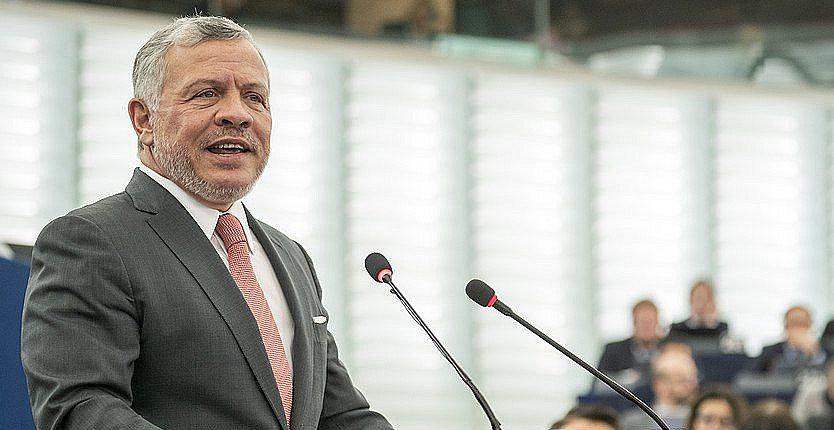 King Abdullah II of Jordan addresses the European Parliament in Strasbourg, Jan. 15, 2020.