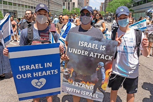 A rally in solidarity with Israel and in protest against rising levels of anti-Semitism, in New York City on May 23.
