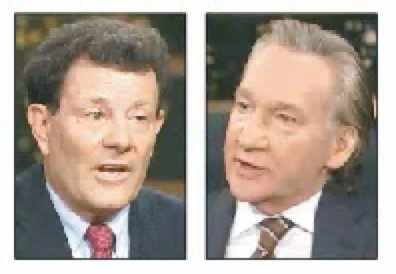 """Nicholas Kristof and Bill Maher on HBO'S """"Real Time"""" last Friday."""